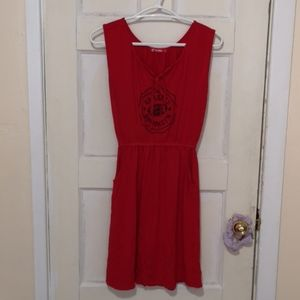 Red vintage dress with pockets